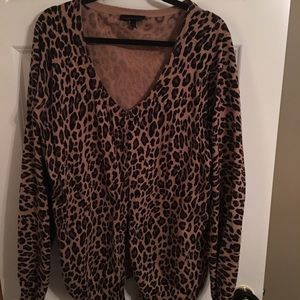 Leopard cardigan. Wear with slacks or jeans.